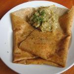 goat cheese and onion crepe