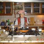 Mrs. Kazuk prepares dinner.