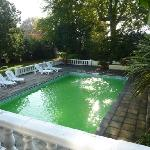 Green-tinged outdoor pool