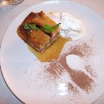 Banana Bread & Butter Pudding with Bailey's sauce