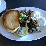 Poached eggs, mushroom sides