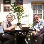 Enjoying the sunny courtyard dining
