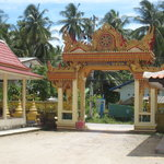 Main gates to Wat Kiri Wongkaram seen from inside the temple