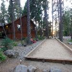 Our cabin with adjacent bocce ball court