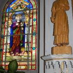 Stained Glass Window & Carved Saint