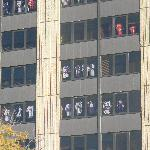 Everyone hanging their player jersey in the windows of the hotel