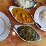Chicken Korma, Paneer Spinach (Palak Paneer) & Rice