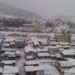 View from our balcony. Love the white snow covering the rooftops