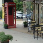 Our landmark: The phone booth out front!