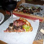 Mary's pizza and red wine blend, Tytanium, from Ty Caton Winery.  Yumm!