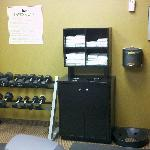 Weights and medicine ball area in work out room