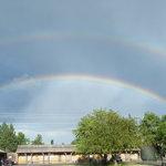 Double rainbow over the Sunset Motel