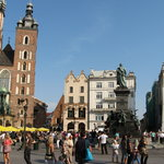 Krakow Market Square (viev of St. Mary's Basilica and Adam Mickiewicz Monument)