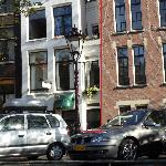 The smallest house in Amsterdam (in the red rectangle) - beside it is a hotel