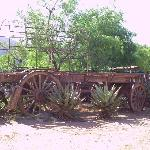 old carriage at entrance to restaurant