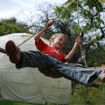 Our son on one of the rope swings outside our dome