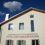 Gasthaus Krone La Punt, Sicht von der Terasse.