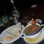 Lobster soup and bread (untoasted)