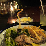 Grilled tuna with fries and salad