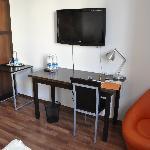 desk, tv, chair