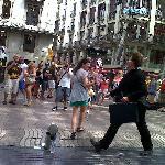 Photo street performer in La Rambla Barcelona