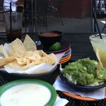 Guac, queso, salsa and drinks