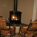 The fireplace and rockers