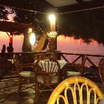 Sunset in Panormos restaurant