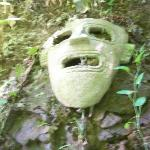 Mask on hillside outside shower