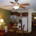 Dining area and kitchen in one bedroom unit