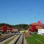 Elkins train depot in the Fall, taken from inside the train pulling in.