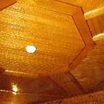 farmhouse lounge cedar ceiling