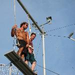 My husband about to do the trapeze