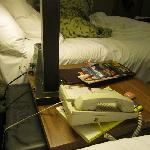 Bed Side Table Beside Pillows +++DUSTY