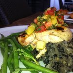 Chicken Breast over Mash Black Beans and Haricot Vert