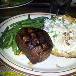 Baseball Sirloin with Baked Potato and Fresh Green Beans