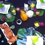 Les petits déjeuners... mangues fraiches, jus de betterave, jus de prunes, crêpes aux œufs de ca