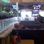 Inside bar and booths at front