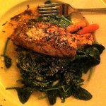 Grilled Salmon over Sauteed Spinach