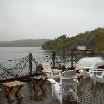The deck, despite the wet day, a compelling view