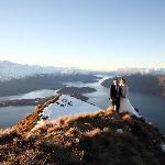 Just married on the mountain