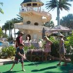 mini-golf with waterslide in background