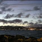 view of Tortola's lights twinkling in the distance as the sun set.