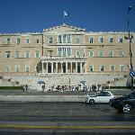 The Greek Parliament Building is set at the top of Syntagma Square with the Tomb of the Unknown