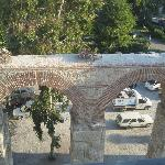 Aqueduct, storks nest, parking lot
