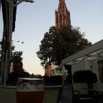 Sitting on patio with a view of the Ulm Munster Cathedral