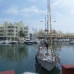 the marina, a short walk along the beach away