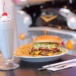 Hartell's Bacon Double Cheeseburger and Birthday Cake milkshake!  YUM!!
