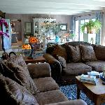 The living room, filled with antiques and precious art objects