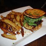 Lamb and coriander Hamburger with hand cut fries